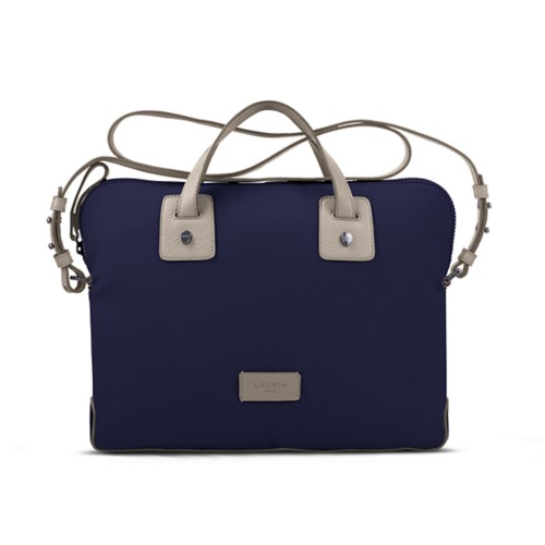 Canvas Satchel Briefcase (13 inches) - Navy Blue-Light Taupe - Canvas