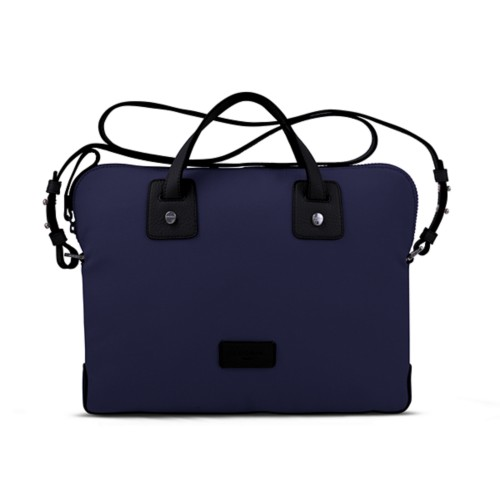 Canvas Satchel Briefcase (13 inches) - Navy Blue-Black - Canvas