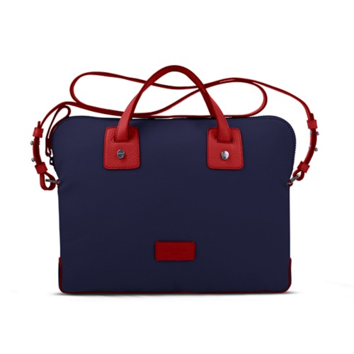Canvas Satchel Briefcase (13 inches) - Navy Blue-Red - Canvas