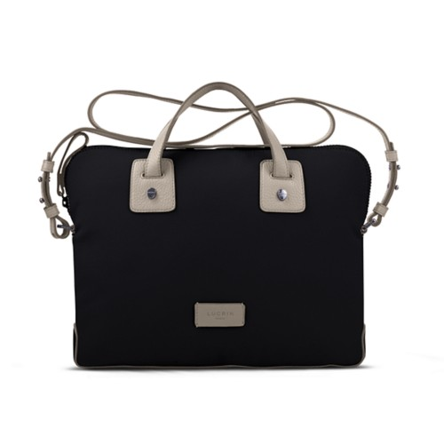 Canvas Satchel Briefcase (13 inches) - Black-Light Taupe - Canvas