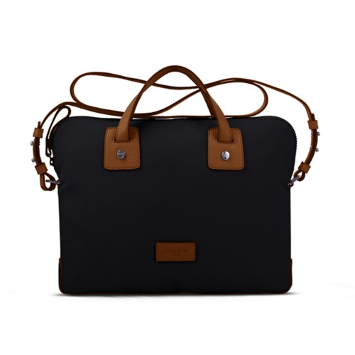 Canvas Satchel Briefcase (13 inches) - Black-Tan - Canvas