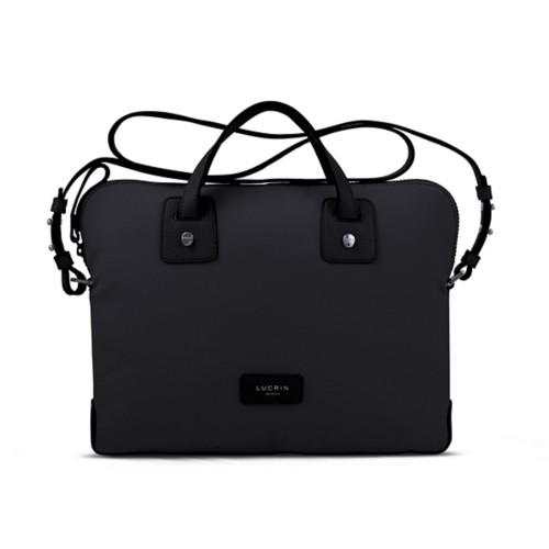 Canvas Satchel Briefcase (13 inches) - Black-Black - Canvas