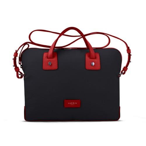 Canvas Satchel Briefcase (13 inches) - Black-Red - Canvas