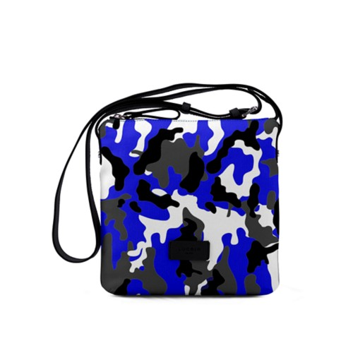 Small Canvas Messenger Bag - Royal Blue-Black - Camouflage