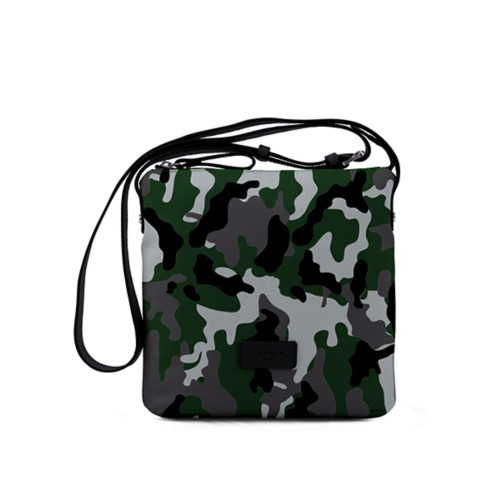 Small Canvas Messenger Bag - Light Green-Black - Camouflage
