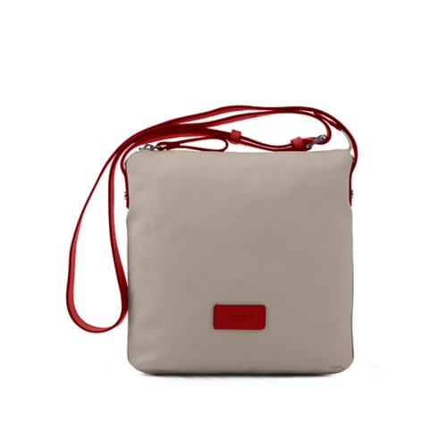 Small Canvas Messenger Bag - Beige-Red - Canvas