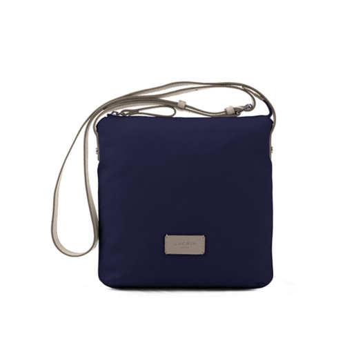 Small Canvas Messenger Bag - Navy Blue-Light Taupe - Canvas