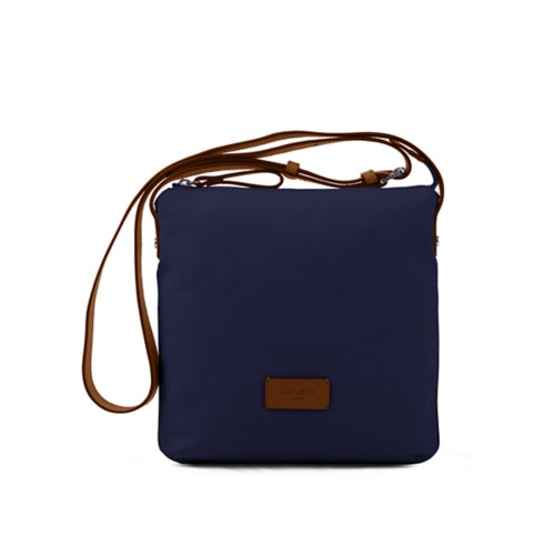 Small Canvas Messenger Bag - Navy Blue-Tan - Canvas