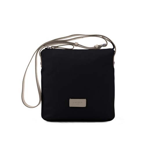 Small Canvas Messenger Bag - Black-Light Taupe - Canvas
