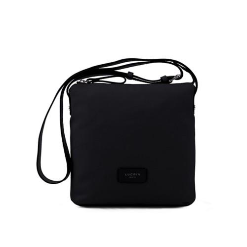 Small Canvas Messenger Bag - Black-Black - Canvas