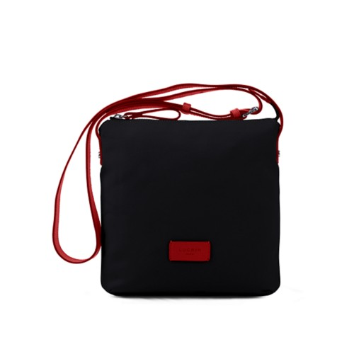 Small Canvas Messenger Bag - Black-Red - Canvas