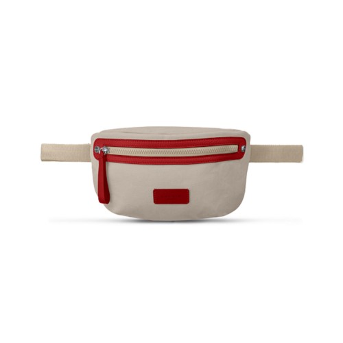 Canvas Fanny Pack - Beige-Red - Canvas