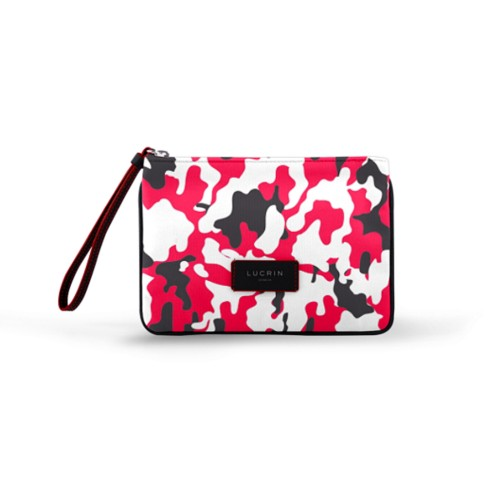 Evening Clutch Canvas Bag - L - Red-Black - Camouflage