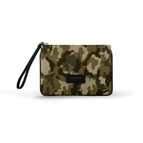Evening Clutch Canvas Bag - L - Dark Green-Black - Camouflage