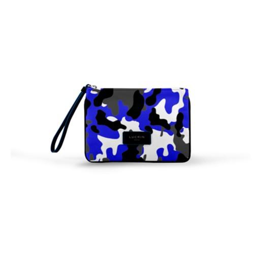 Evening Clutch Canvas Bag - M - Royal Blue-Black - Camouflage