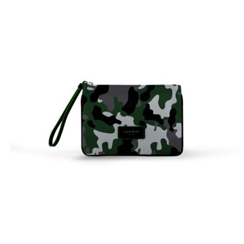 Evening Clutch Canvas Bag - M - Light Green-Black - Camouflage