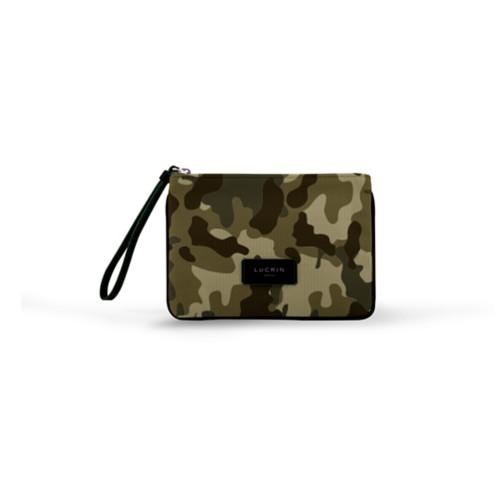 Evening Clutch Canvas Bag - M - Dark Green-Black - Camouflage