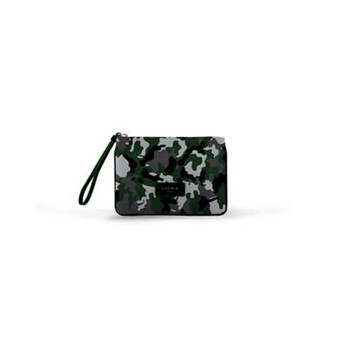 Evening Clutch Canvas Bag - S - Light Green-Black - Camouflage
