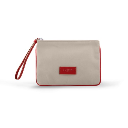 Evening Clutch Canvas Bag - L - Beige-Red - Canvas