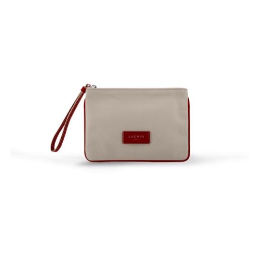 Evening Clutch Canvas Bag - M - Beige-Red - Canvas