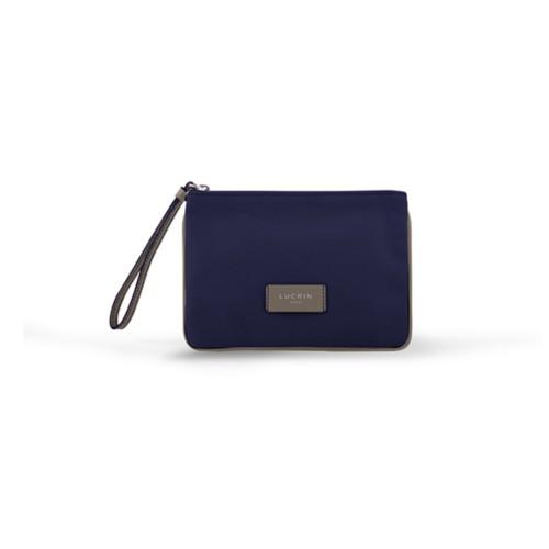 Evening Clutch Canvas Bag - M - Navy Blue-Light Taupe - Canvas