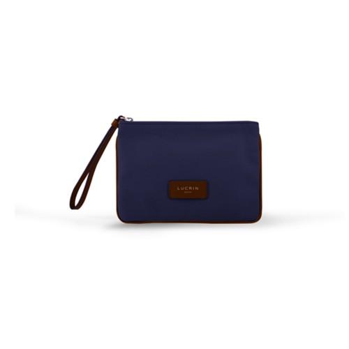 Evening Clutch Canvas Bag - M - Navy Blue-Tan - Canvas