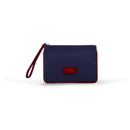 Evening Clutch Canvas Bag - M - Navy Blue-Red - Canvas