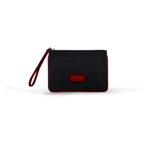 Evening Clutch Canvas Bag - M - Black-Red - Canvas