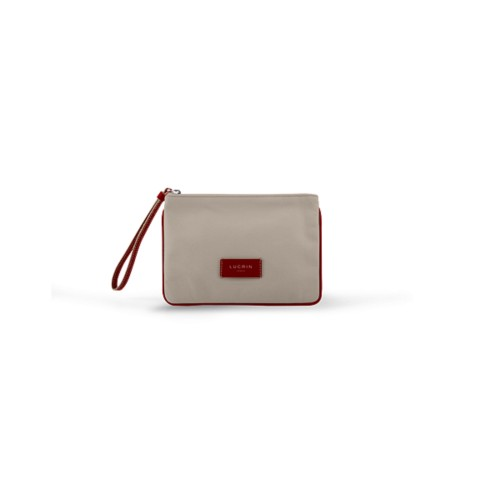 Evening Clutch Canvas Bag - S - Beige-Red - Canvas