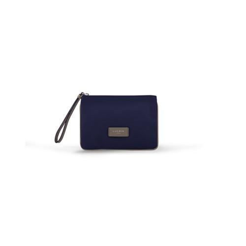 Evening Clutch Canvas Bag - S - Navy Blue-Light Taupe - Canvas