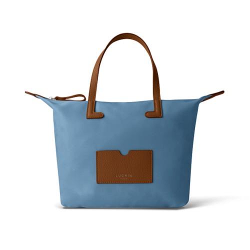 ミディアムハンドバッグ - Tan-Sky Blue - High-end nylon