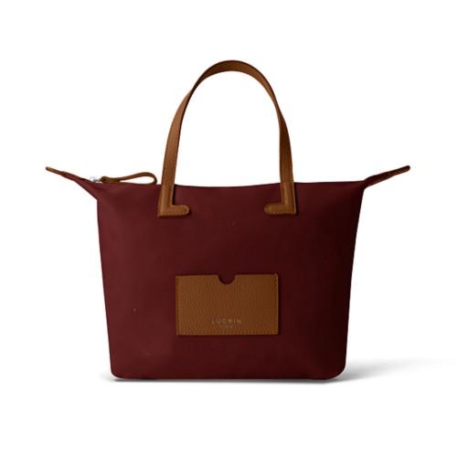 Mittelgroße Handtasche - Tan-Burgundy - Canvas
