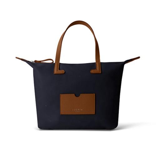 ミディアムハンドバッグ - Tan-Navy Blue - High-end nylon