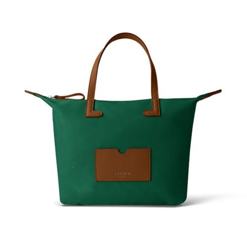Mittelgroße Handtasche - Cognac-Dunkelgrün - Canvas