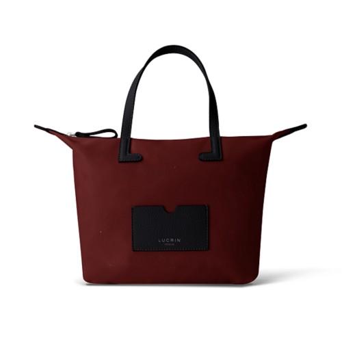 Mittelgroße Handtasche - Schwarz-Weinrot - Canvas
