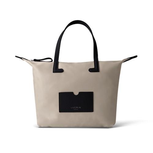 Mittelgroße Handtasche - Schwarz-Beige - Canvas