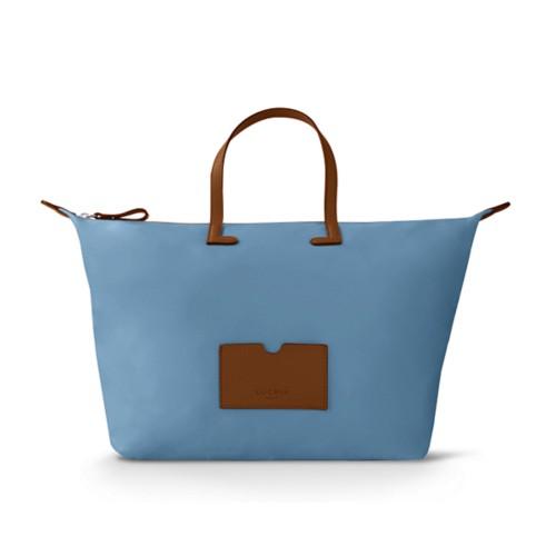 ラージハンドバッグ  - Tan-Sky Blue - High-end nylon