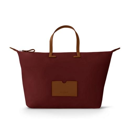 Large handbag - Tan-Burgundy - High-end nylon