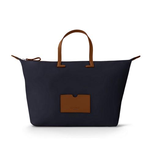 Large handbag - Tan-Navy Blue - High-end nylon
