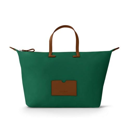Große Handtasche - Cognac-Dunkelgrün - Canvas