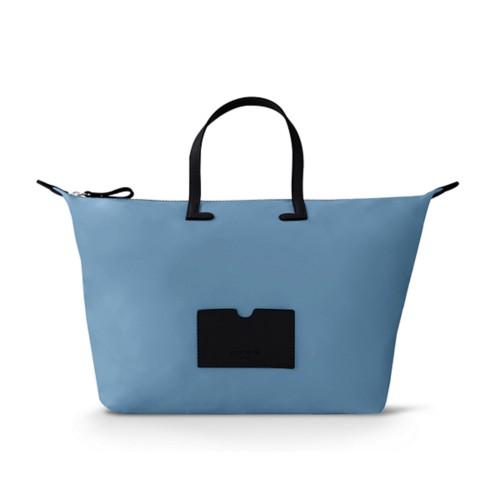 Große Handtasche - Schwarz-Himmelblau - Canvas