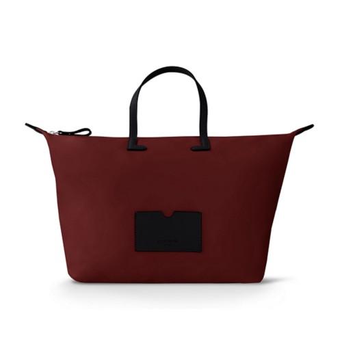 Große Handtasche - Schwarz-Weinrot - Canvas