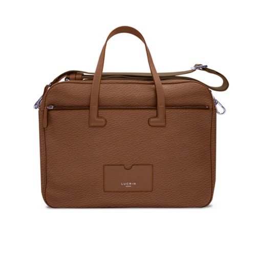 "15"" Leather-Nylon Laptop Bag - Tan - Granulated Leather"