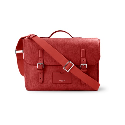 Leather-Nylon Satchel - Red - Granulated Leather
