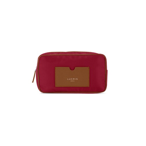 Nylon Leather Dopp Kit (7.7 x 4.9 x 3 inches) - Tan-Burgundy - High-end nylon