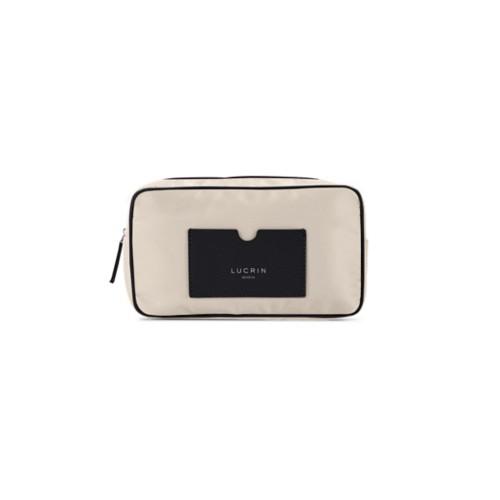 Nylon Leather Dopp Kit (19.5 x 12.5 x7.5 cm) - Black-Beige - High-end nylon