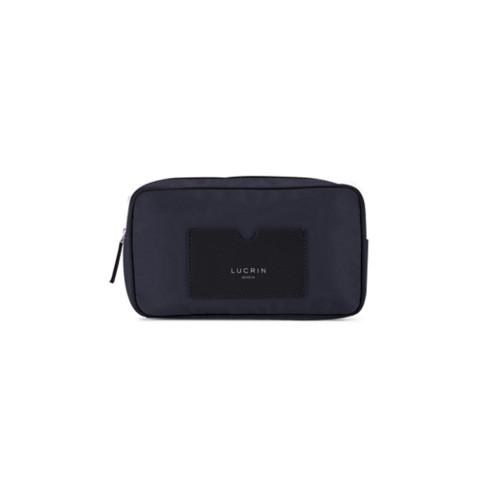Nylon Leather Dopp Kit (19.5 x 12.5 x7.5 cm) - Black-Navy Blue - High-end nylon