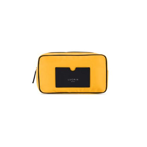 Nylon Leather Dopp Kit (19.5 x 12.5 x7.5 cm) - Black-Sun Yellow - High-end nylon