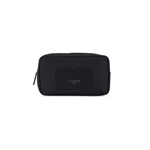 Nylon Leather Dopp Kit (19.5 x 12.5 x7.5 cm) - Black-Black - High-end nylon