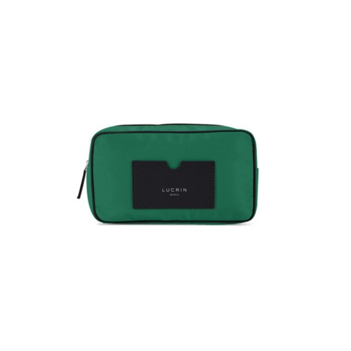 Nylon Leather Dopp Kit (19.5 x 12.5 x7.5 cm) - Black-Dark Green - High-end nylon